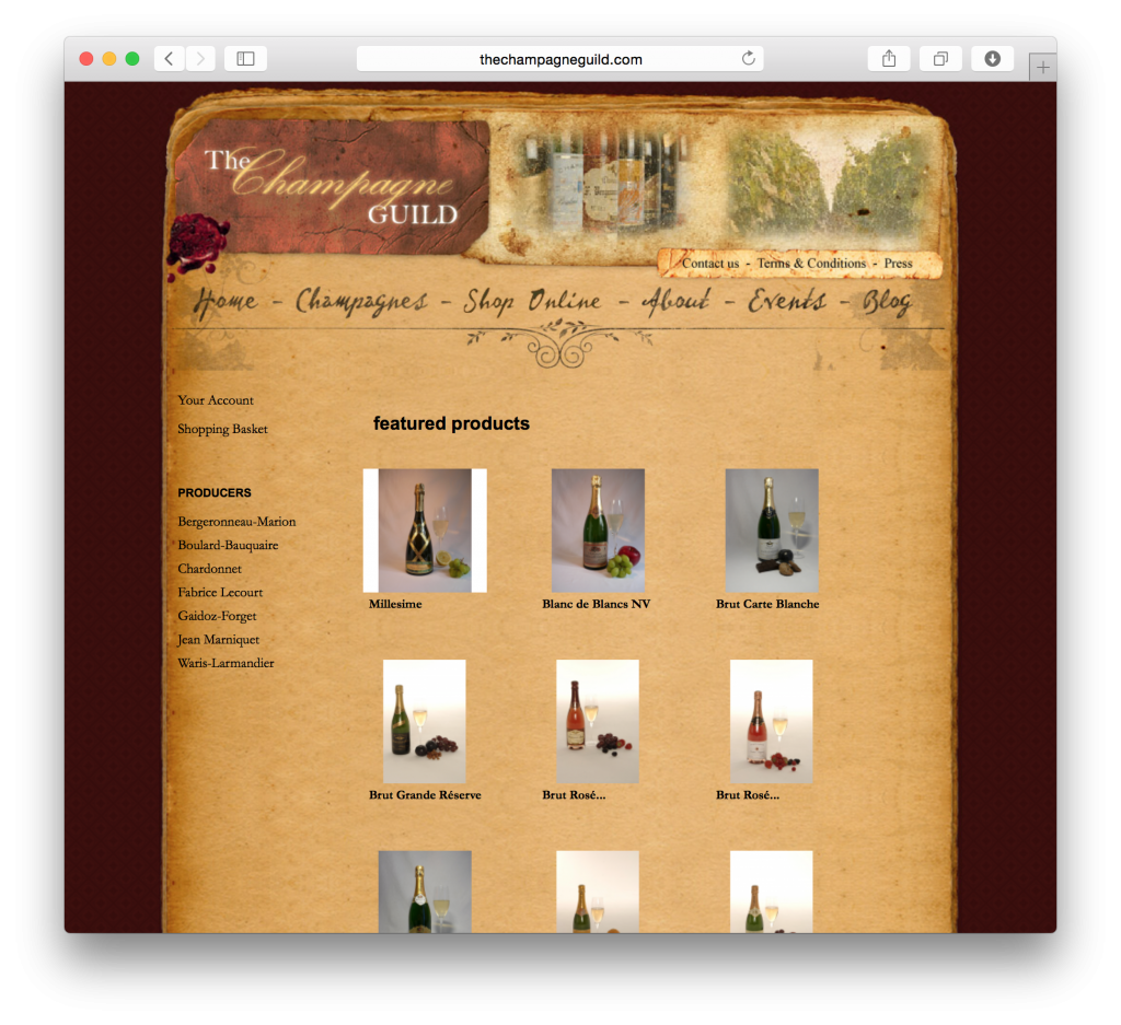 The Champagne Guild's online store integrated seamlessly with the previously-designed website to ensure a smooth fit.