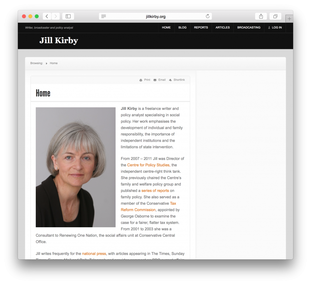 Jill Kirby, a UK policy analyst, needed a simple site with key information about her and how to contact her.