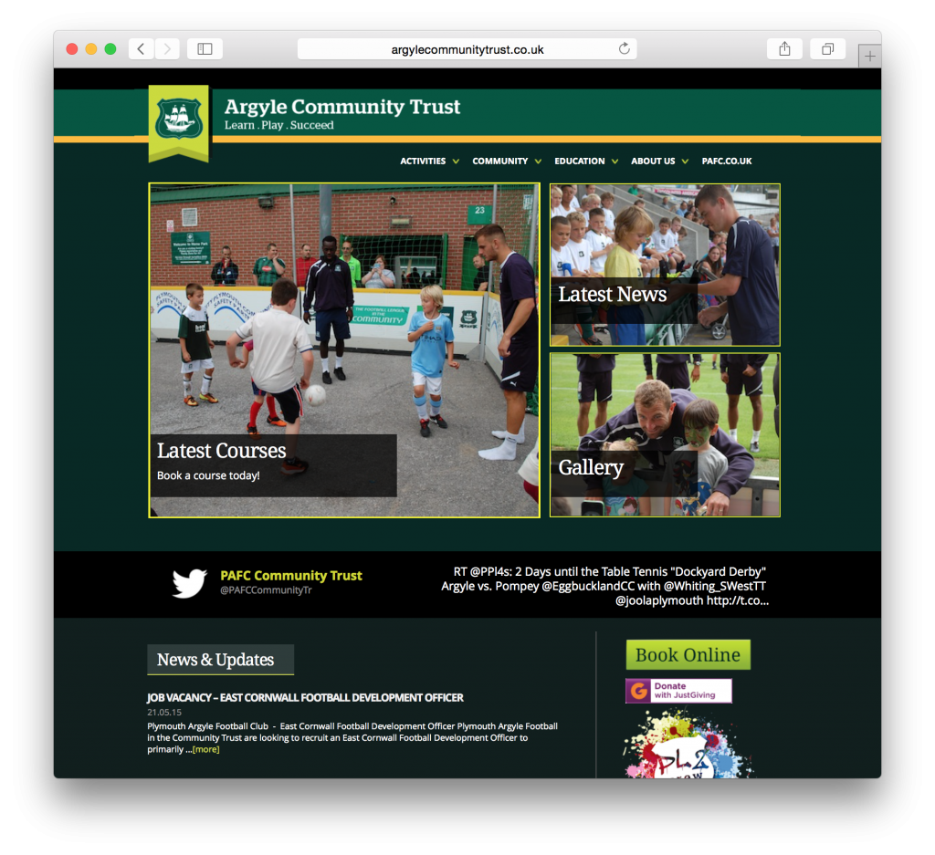 Plymouth Argyle's Community Trust required a comprehensive site with e-commerce, news and other features, all updateable by staff.