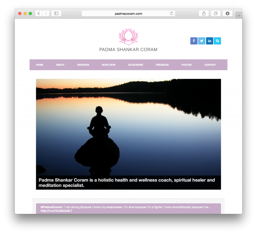 Padma Coram required a clean, simple site that allowed her to take bookings for her wellness sessions.