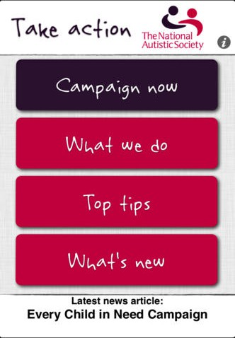 Take Action is a groundbreaking e-campaiging app that lets National Autistic Society members join causes from their phones.