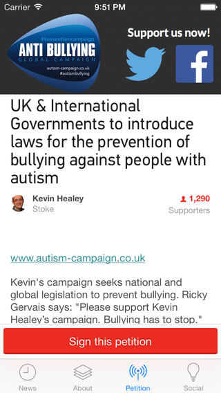 Kevin Healey needed an app to help his campaign for anti-bullying laws for people with autism.